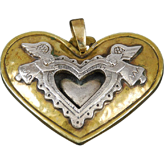 Jeep Collins Brass and Sterling Angel Heart Pendant