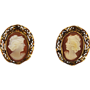 Cameo Gold Filled Clip On Earrings