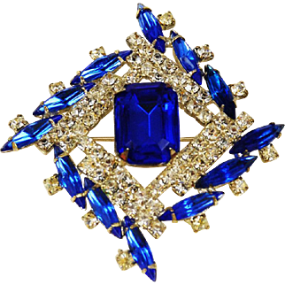 Swarovski Sapphire Rhinestone Pinwheel Brooch