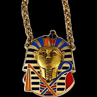 Cloisart Egyptian Revival Cloisonné King Tut Necklace Rare