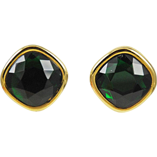 Sphinx Emerald Rhinestone Clip On Earrings