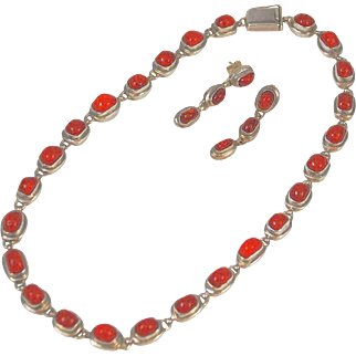 Red Coral & Sterling Necklace Set By EXEX Claudia Agudelo Designer