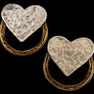 Sterling Silver & Brass Heart Earrings Signed Smith