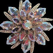 Vintage Aurora Borealis Crystal - Australian Pin Brooch - Starburst Design