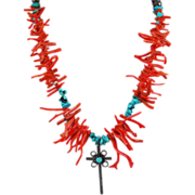 Native American Red Coral & Turquoise Sterling Cross Necklace - Sterling Beads