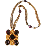 Griffin & Amethyst Glass Pendant Necklace Gold Tone Chains
