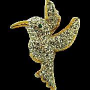 Lind Hummingbird Pave Rhinestone Brooch Signed Figural
