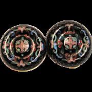 Vintage Cloisonne Earrings - Large Clip On Black & Pastels