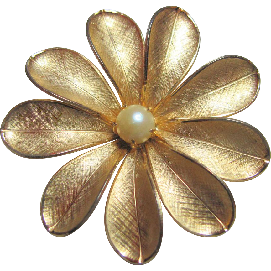 Bates & Bacon 12K Gold Filled Pearl - Daisy Flower Pin Brooch