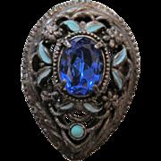 Vintage Pot Metal - Rhinestone & Enamel Fur Clip - Pin