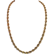 Vintage Napier - Gold Toned Rope Design Necklace - Heavy 20 inches long