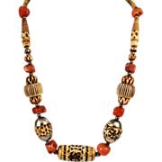 Vintage Carved Bone & Agate Ethnic Tribal Necklace