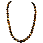 Vintage Gold Filled Tiger's Eye Beaded Necklace - Graduated