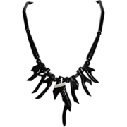 Hawaiian Black Coral Inlaid Branch Necklace - 2 Inch Bead - Horn & Silver