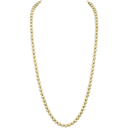 Crown Trifari Gold Tone Textured Bead Necklace
