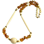Vintage Carved Bone & Agate Necklace Ethnic Boho