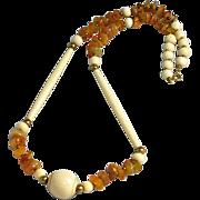 Vintage Carved Bone & Agate Necklace Ethnic Boho
