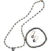 Vintage Freshwater Peacock Pearl Necklace Set