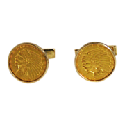 Gold 14K  Coin Cuff Links $5 Indian Half Eagle