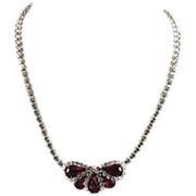Weiss Fuchsia Rhinestone Necklace Signed
