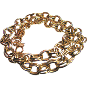 Vintage Erwin Pearl - 24 inch  Chain Link Necklace - Heavy Gold Tone