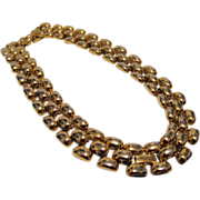 Vintage Erwin Pearl - Gold Tone Necklace - Choker Heavy - Three Link