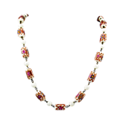 Venetian Wedding Cake Beads Necklace - Italian Murano Glass