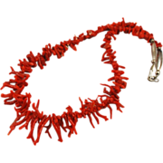 Native American Red Branch Coral and Sterling Necklace