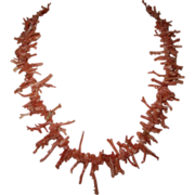 Vintage Salmon Branch Coral Necklace - Natural with Full Look