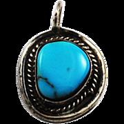 Vintage Sterling & Turquoise Handcrafted Gemstone Pendant