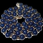 Lapis Lazuli & 14k Gold Bead Necklace - 21 1/2 inches 7mm Lapis Beads