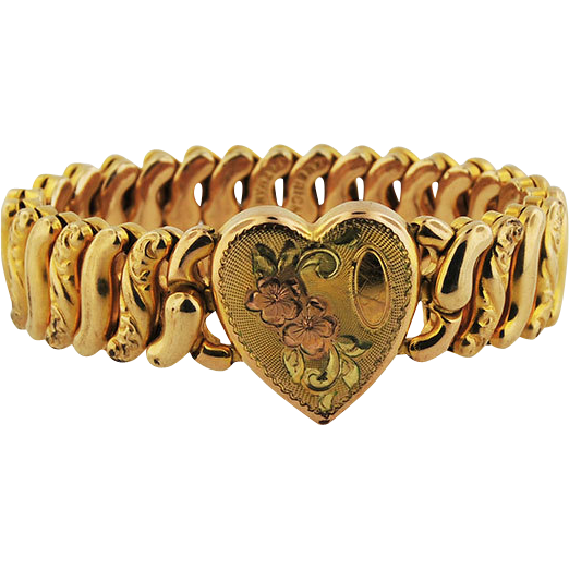 Child's Gold Plated Expansion Band w/ Heart Plaque