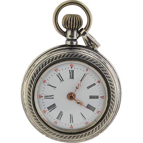 Antique Swiss Pendant or Chatelaine Watch in Silver