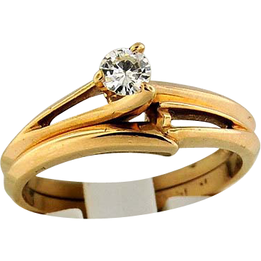 14K Yellow Gold 1/5 Carat Wedding Set