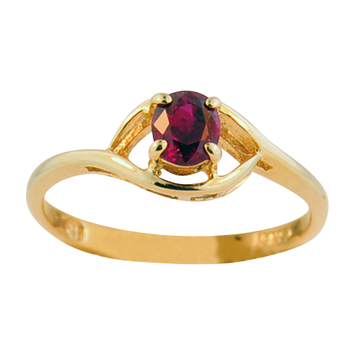 14K Yellow Gold Ruby Ring Solitaire
