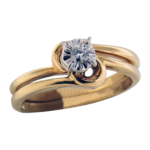 14K Yellow Gold Diamond Wedding Set .. .07carat