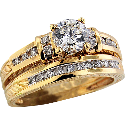 14K Yellow Gold Diamond Wedding Set
