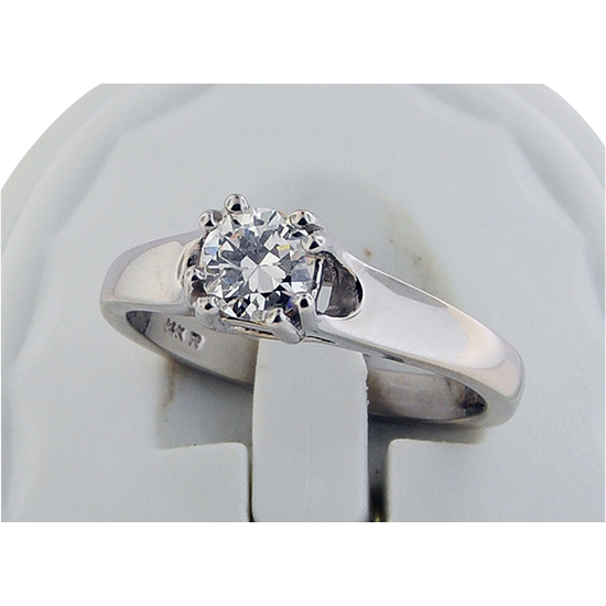 14K White Gold .47 Carat Solitaire Diamond Engagement Ring