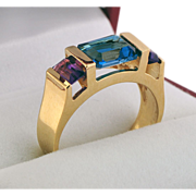 14K Yellow Gold Blue Topaz & Amethyst Ring