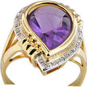 14K Yellow Gold Ring with a Fantasy Cut Amethyst