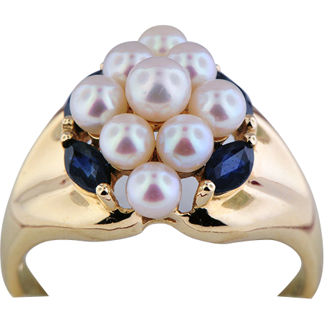14K Yellow Gold Pearl & Sapphire Ring