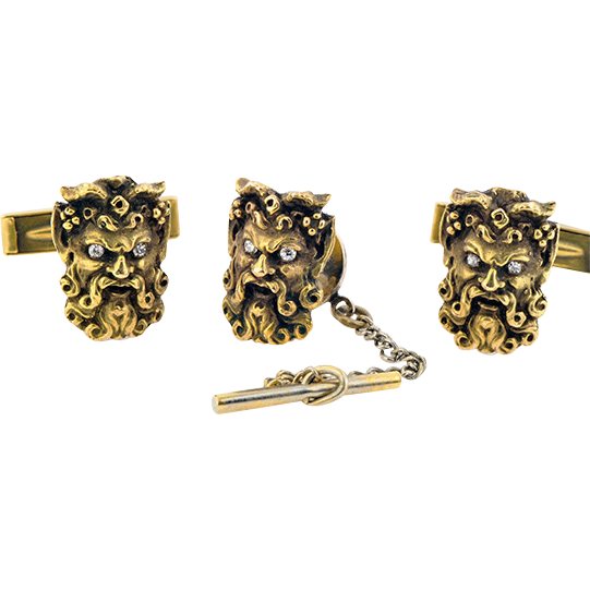 Set of 14K Cufflinks and Tie Tac in the God Pan Motif