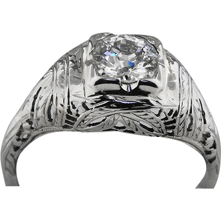 14K White Gold .90 Carat Diamond Ring