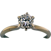 14K White Gold .75 Carat Diamond Solitaire Ring