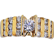 14K Yellow Gold Diamond Ring in Step Design