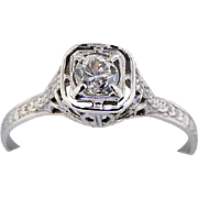 18K White Gold .34ct Diamond Ring