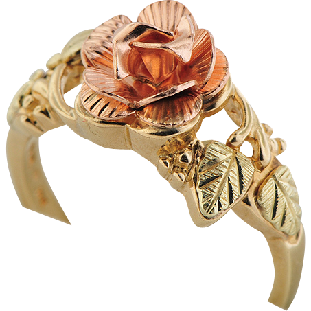 10K Three Color Rose Ring
