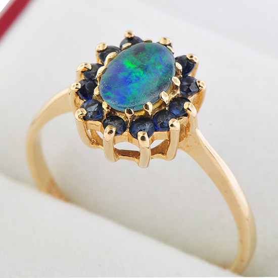 10k yellow gold black opal triplet ring sold on ruby