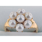 14K Yellow Gold & Cultured Pearls Ring