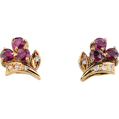 Pair of 14K Yellow Gold Ruby & Diamond Earrings